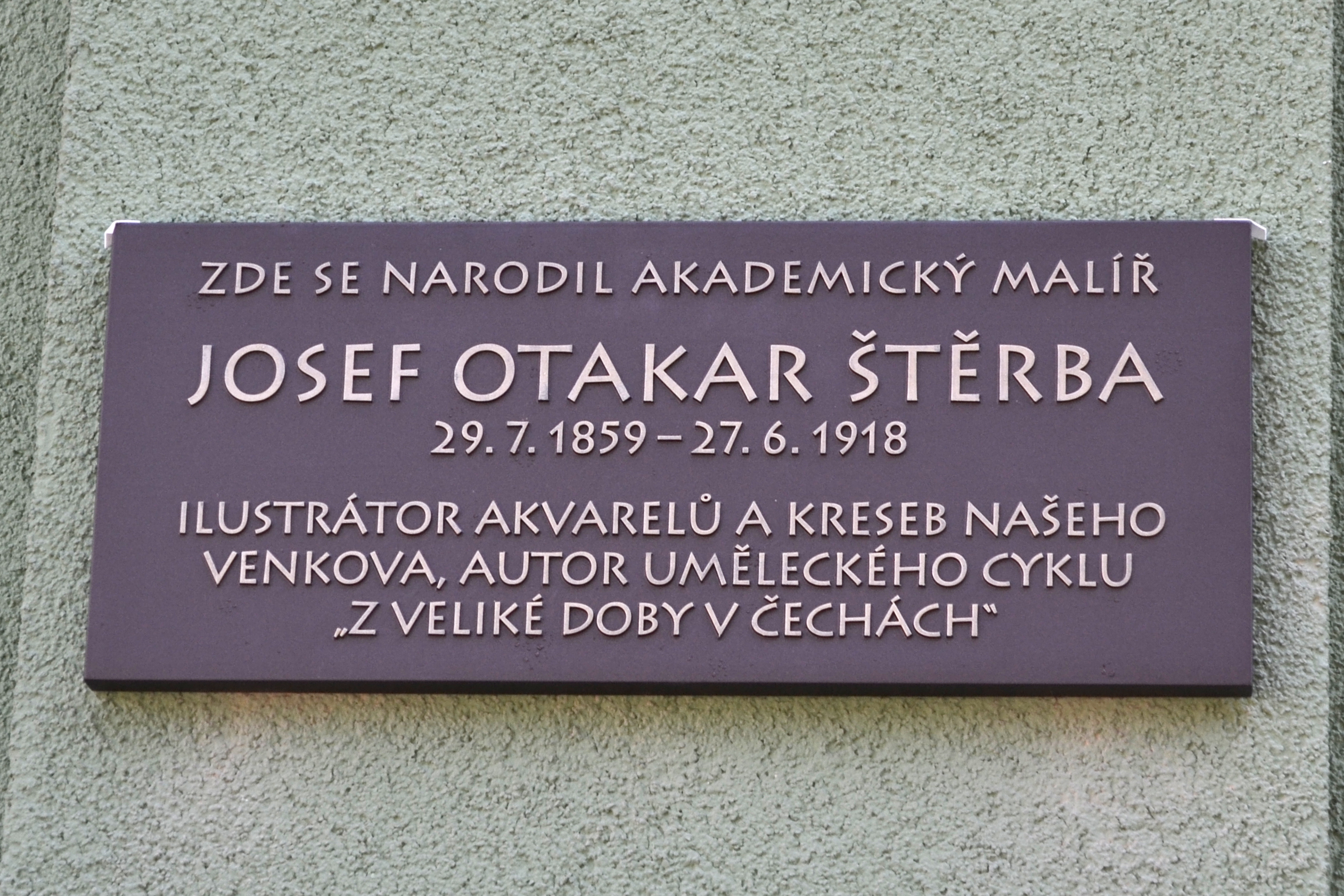 Odhalení pamětní desky Josefa Otakary Štěrby